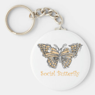 Social Butterfly Basic Round Button Keychain