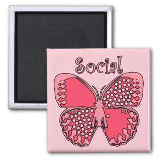 Social Butterfly Square Magnet