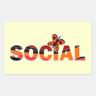 Social butterfly rectangular sticker