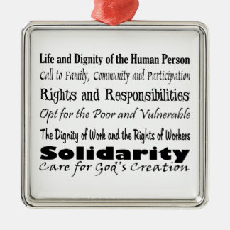 Social Justice Themes Silver-Colored Square Ornament
