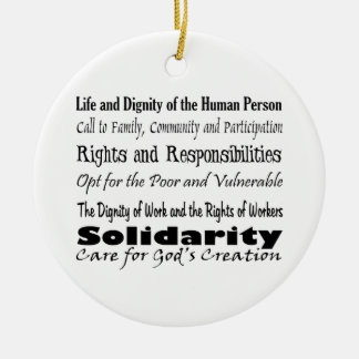 Social Justice Themes with cross balance T Round Ceramic Ornament