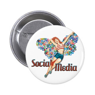 Social Media fairy pin-up 2 Inch Round Button