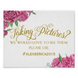 social media hashtag wedding sign peony rose sign
