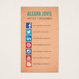 SOCIAL MEDIA ICONS SYMBOLS BUSINESS CARD