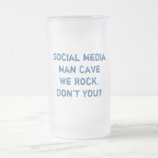 Social Media Man Cave Stein Frosted Glass Mug