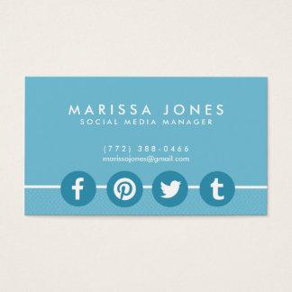 Social Media Manager Blue Business Cards
