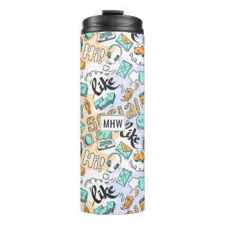 Social Media Pattern custom monogram tumbler