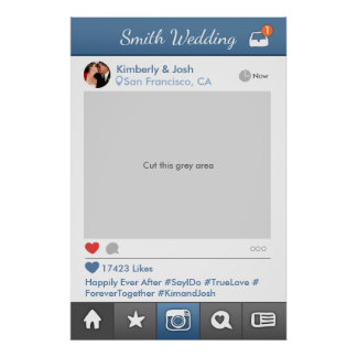 Social Media Photo Prop Frame Wedding Photo Booth Poster