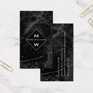 Social Media Upscale DeLuxe Marble Black Monogram Business Card