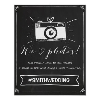 Social media wedding hashtag sign Instagram