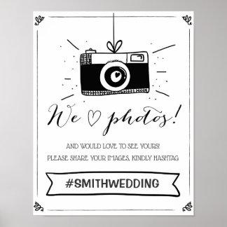 Social media wedding hashtag sign Instagram White
