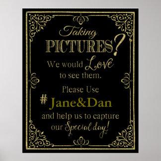 social media wedding sign elegant gold glitter