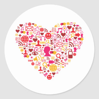 Social Network Heart Round Stickers