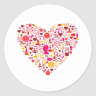 Social Network Heart Stickers