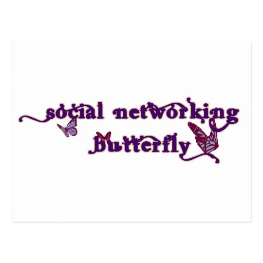 Social Networking Butterfly Post Cards