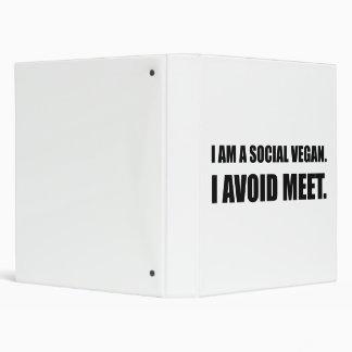 Social Vegan Avoid Meet Vinyl Binder