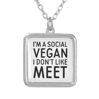 Social Vegan Silver Plated Necklace