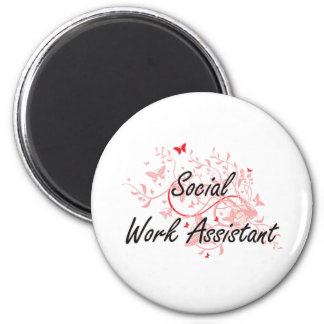 Social Work Assistant Artistic Job Design with But 2 Inch Round Magnet