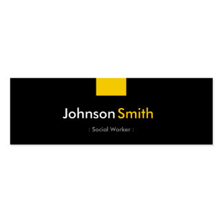 Social Worker - Amber Yellow Compact Business Card Template