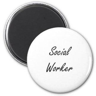 Social Worker Artistic Job Design 2 Inch Round Magnet
