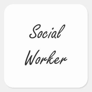 Social Worker Artistic Job Design Square Sticker