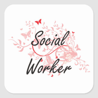 Social Worker Artistic Job Design with Butterflies Square Sticker