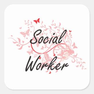 Social Worker Artistic Job Design with Butterflies Square Sticker