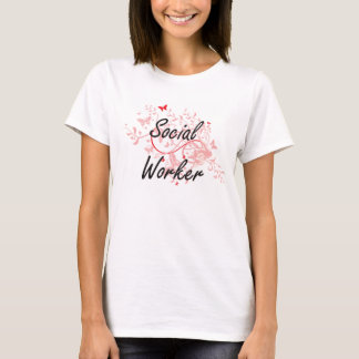 Social Worker Artistic Job Design with Butterflies T-Shirt