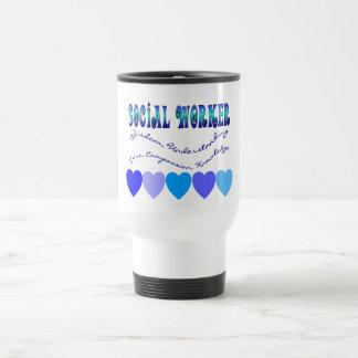 Social Worker BLUE HEARTS 15 Oz Stainless Steel Travel Mug