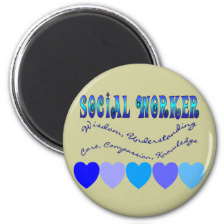 Social Worker BLUE HEARTS 2 Inch Round Magnet
