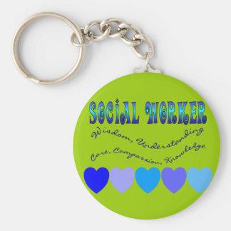 Social Worker BLUE HEARTS Basic Round Button Keychain