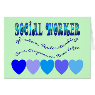 Social Worker BLUE HEARTS Greeting Card