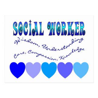 Social Worker BLUE HEARTS Postcard