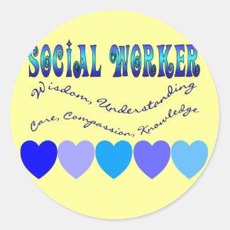 Social Worker BLUE HEARTS Round Sticker