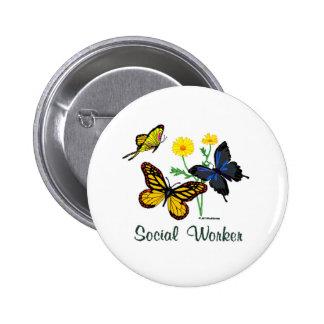 Social Worker Butterflies 2 Inch Round Button