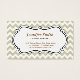 Social Worker - Chevron Simple Jasmine Business Card