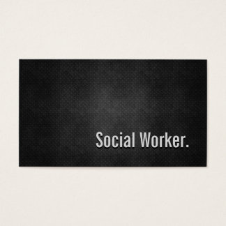Social Worker Cool Black Metal Simplicity Business Card