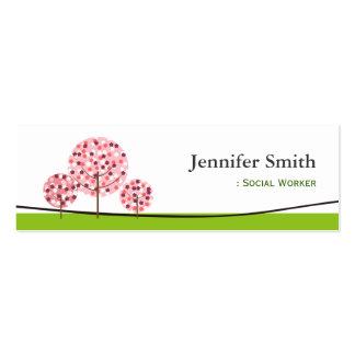Social Worker - Cute Pink Tree Symbol Pack Of Skinny Business Cards