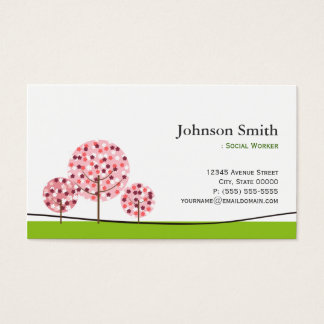 Social Worker - Cute Pink Wishing Tree Logo Business Card