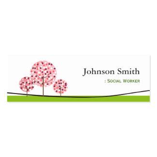 Social Worker - Cute Pink Wishing Tree Logo Pack Of Skinny Business Cards