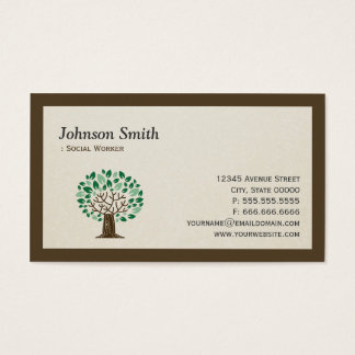 Social Worker - Elegant Tree Symbol Business Card