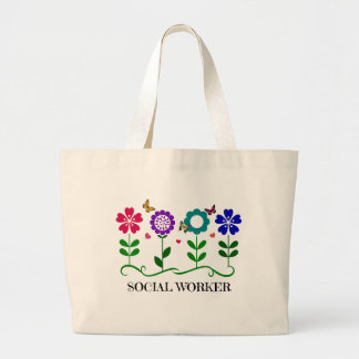 Social Worker...Flowers, Hearts, and Butterflies Large Tote Bag
