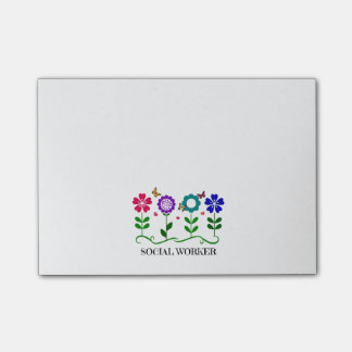 Social Worker...Flowers, Hearts, and Butterflies Post-it Notes