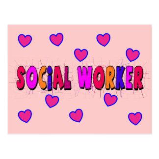 Social Worker HEARTS Postcard