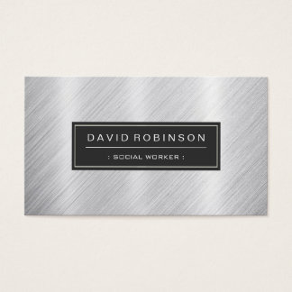 Social Worker - Modern Brushed Metal Look Business Card