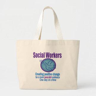 Social Worker Peace Dove Design Large Tote Bag