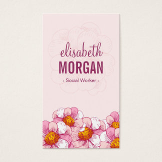 Social Worker - Pink Boutique Flowers Business Card