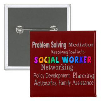 Social Worker Professional Duties Design 2 Inch Square Button