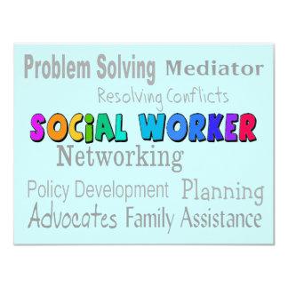 "Social Worker Professional Duties Design 4.25"" X 5.5"" Invitation Card"