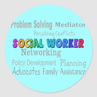 Social Worker Professional Duties Design Round Sticker